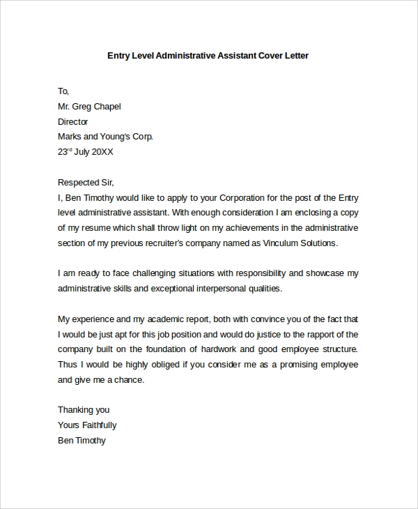 covering letter example for administrative position - 30 cover letter example templates sample templates