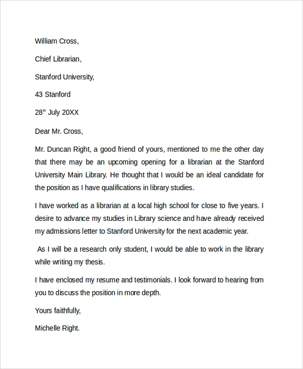 librarian cover letter example