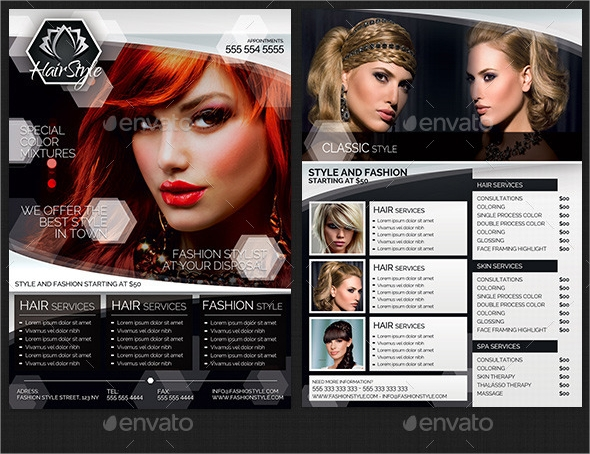 4 hair salon fashion style business flyer template