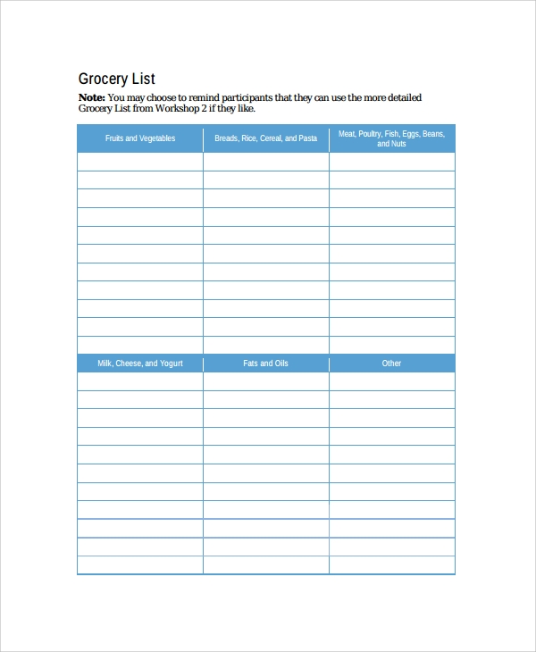 grocery budget template