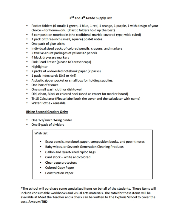 Sample Supply List Template - 9+ Free Documents Download in PDF, Word