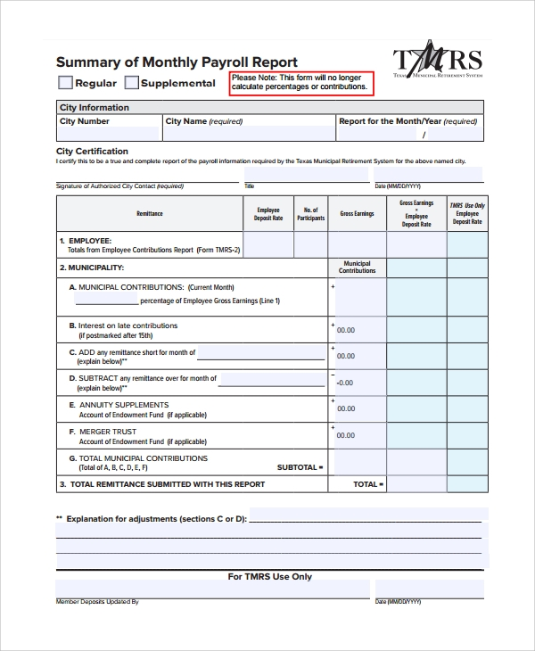 Sample Payroll Report Template   Free Documents Download In