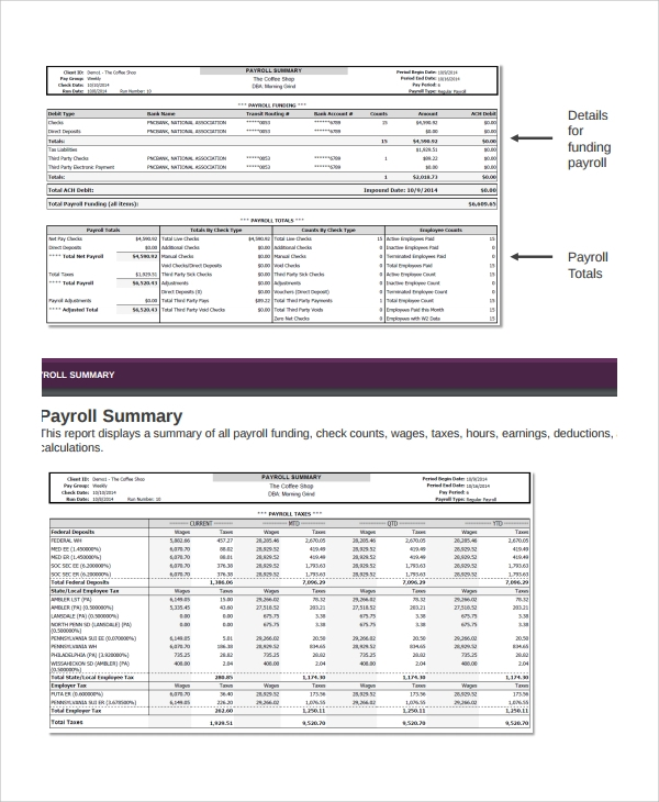 Sample Payroll Report Template 8 Free Documents