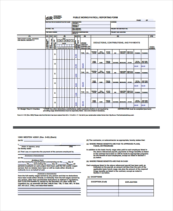Sample Payroll Report Template 8 Free Documents Download in – Payroll Report Template