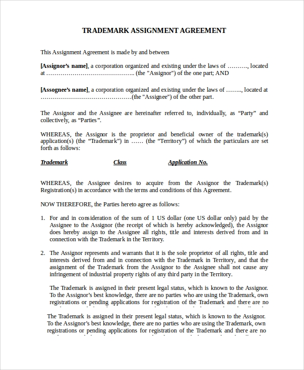 Sample Assignment Agreement Template - 9+ Free Documents Download
