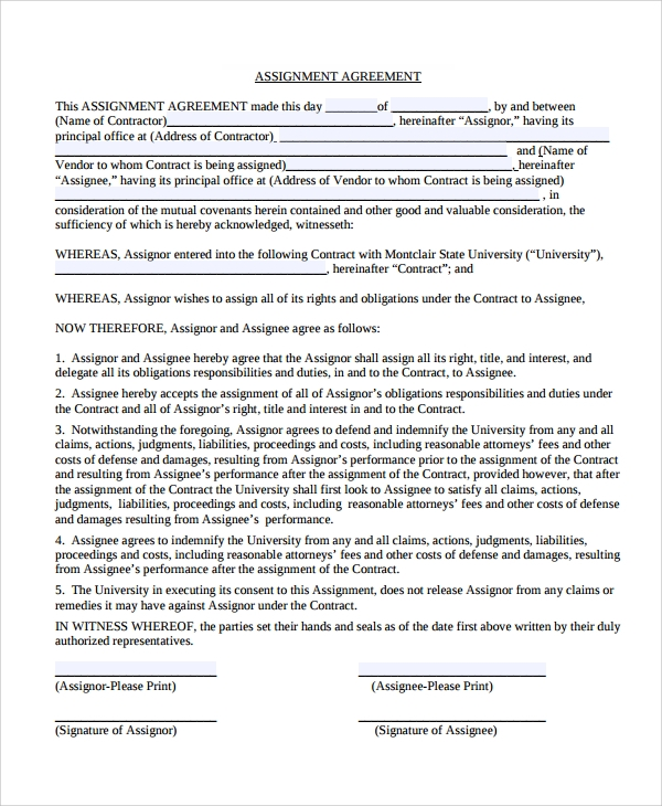 10 assignment agreement templates sample templates
