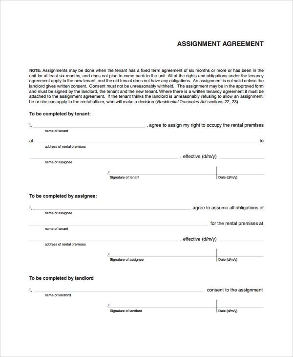 Sample Assignment Agreement Template   Free Documents Download In