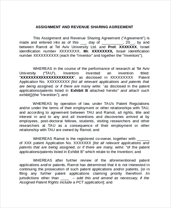 Sample assignment agreement template 9 free documents download in assignment revenue sharing agreement platinumwayz