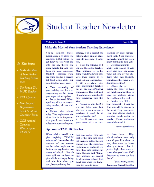 Sample Teacher Newsletter Template - 6+ Free Documents Download In Pdf