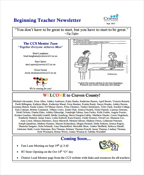 school teacher newsletter template