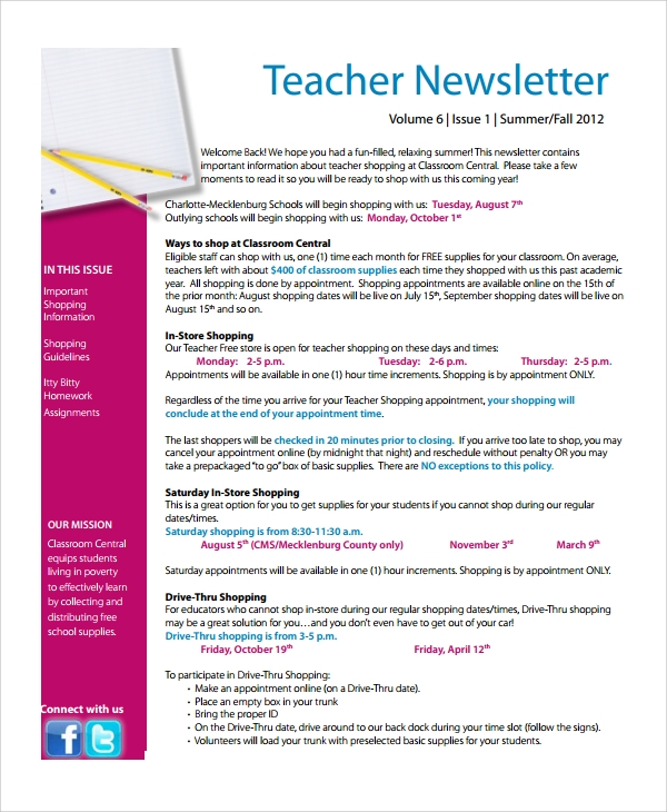 7 teacher newsletter templates sample templates for Adobe newsletter templates