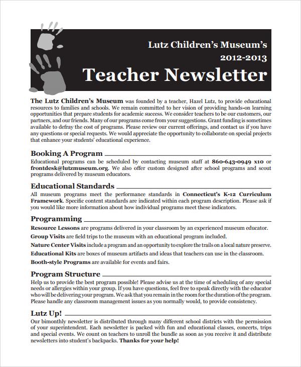 new teacher newsletter