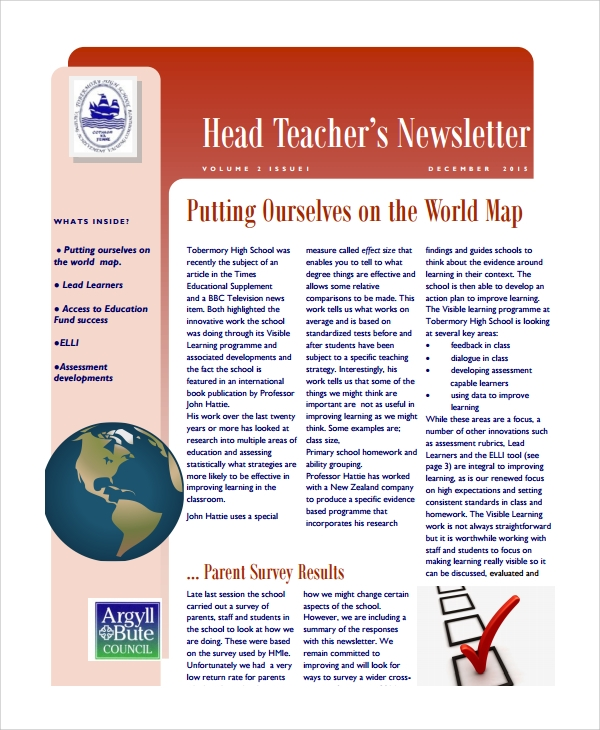 head teacher newsletter