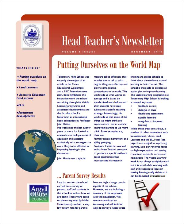head teacher newsletter