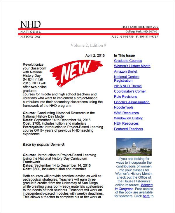Sample Teacher Newsletter Template 6 Free Documents Download in PDF – Teacher Newsletter Template