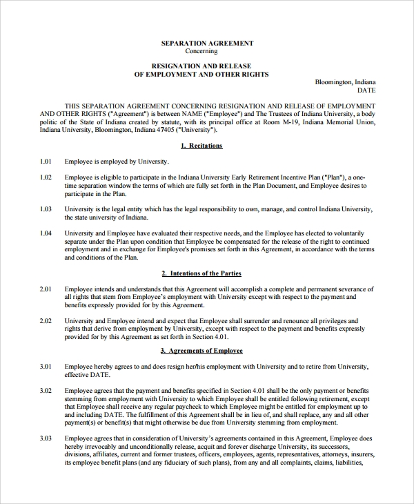 Sample Employment Separation Agreement 9 Free Documents – Severance Agreement Template