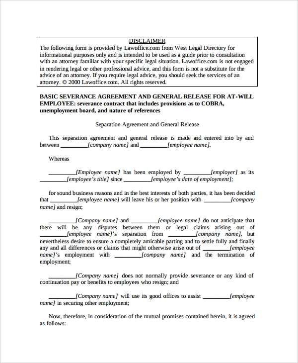 Sample Employment Separation Agreement   Free Documents Download