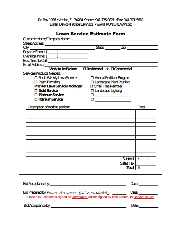 Sample Service Estimate Template - 7+ Free Documents Download In