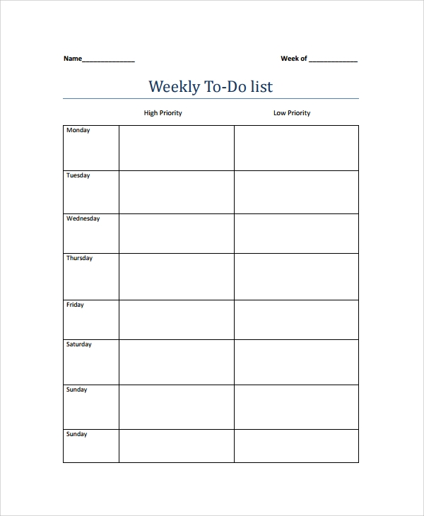 Weekly Calendar List : Weekly to do list templates sample