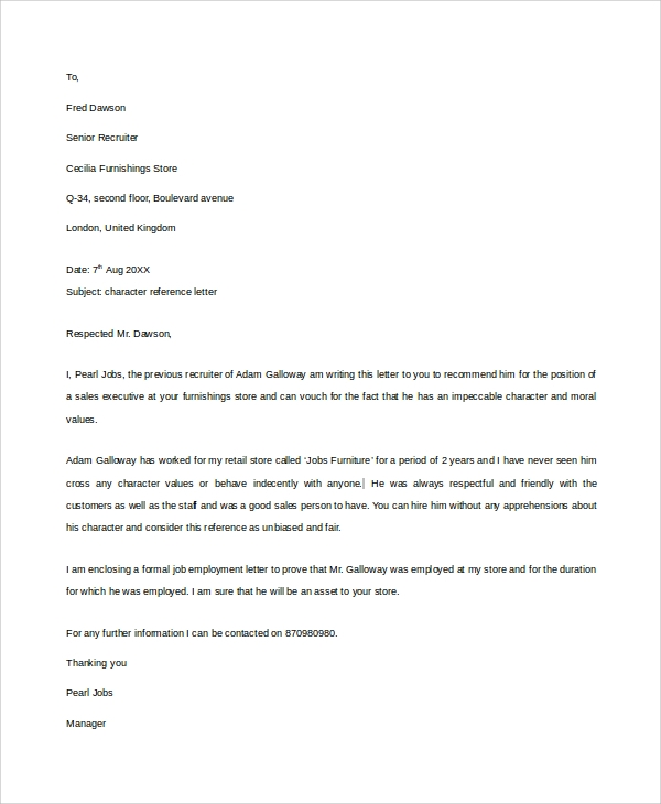 Sample Reference Letter   Free Documents Download In Word Pdf