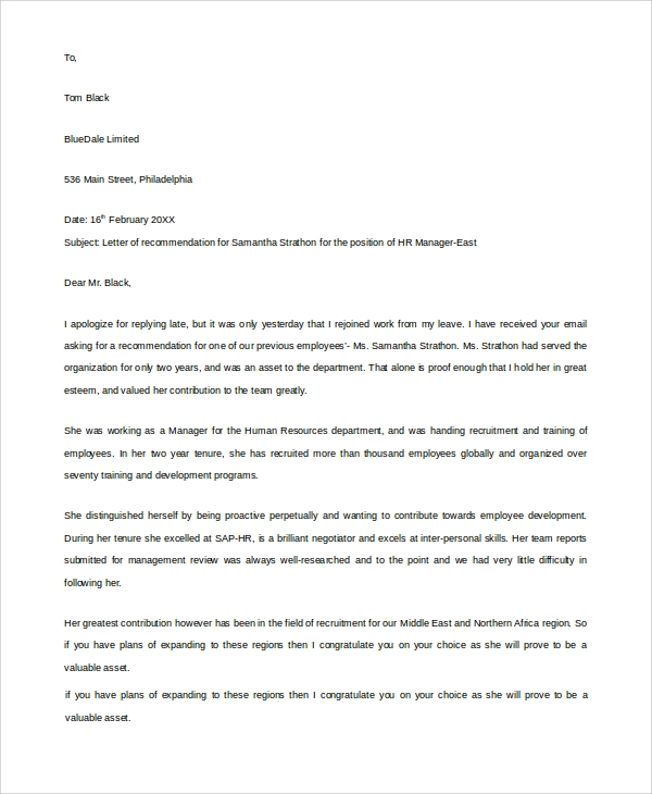 Example Recommendation Letter For Employee Pdf Sample Reference Letter 19 Free Documents Download In