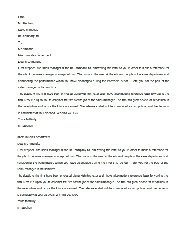 Sample Reference Letter 19 Free Documents Download in Word PDF – Job Reference Letter