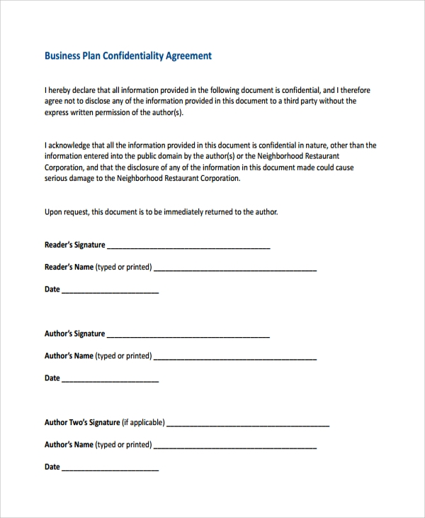 Sample Business Confidentiality Agreement Template 7 . Free ...  Free Printable Non Disclosure Agreement