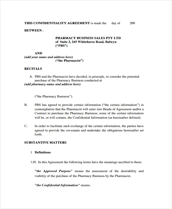 Sample Business Confidentiality Agreement Template- 7+ Free