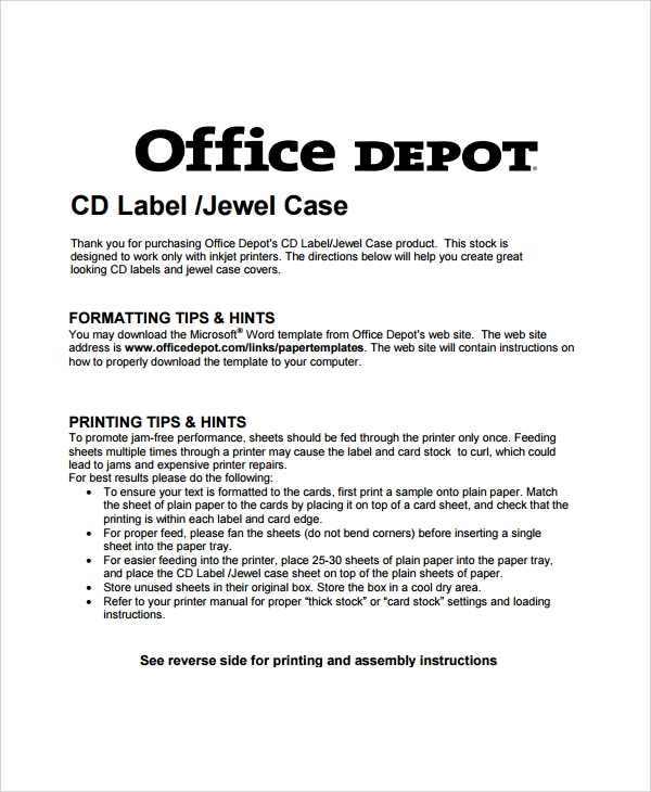 cd label jewel case template