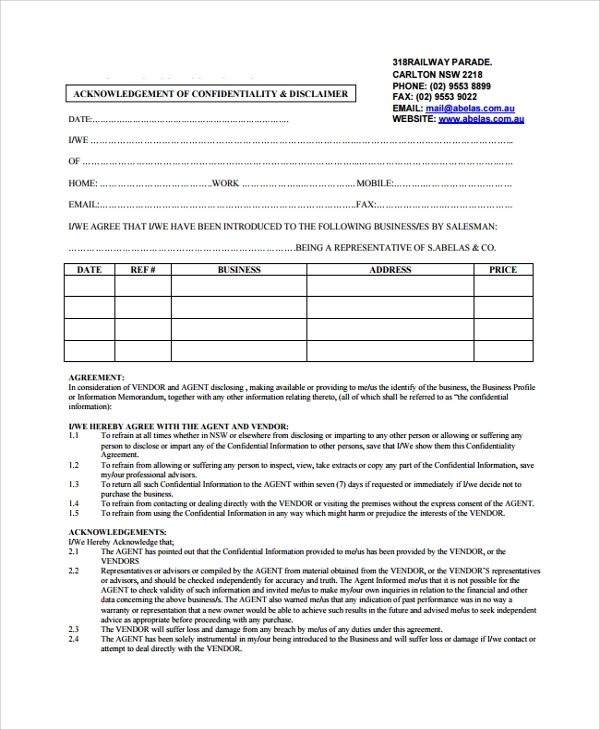 10 Business Confidentiality Agreement Templates
