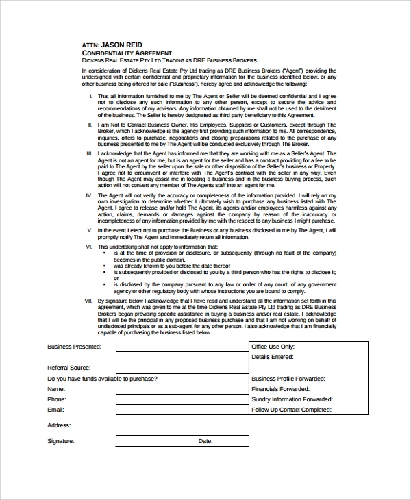 business confidentiality agreement sample