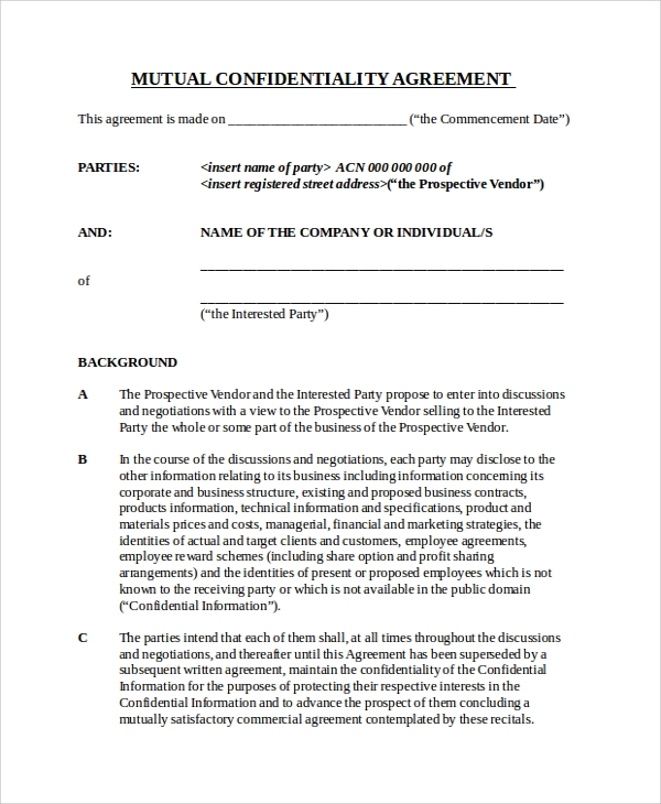 Sample Business Confidentiality Agreement Template  Free