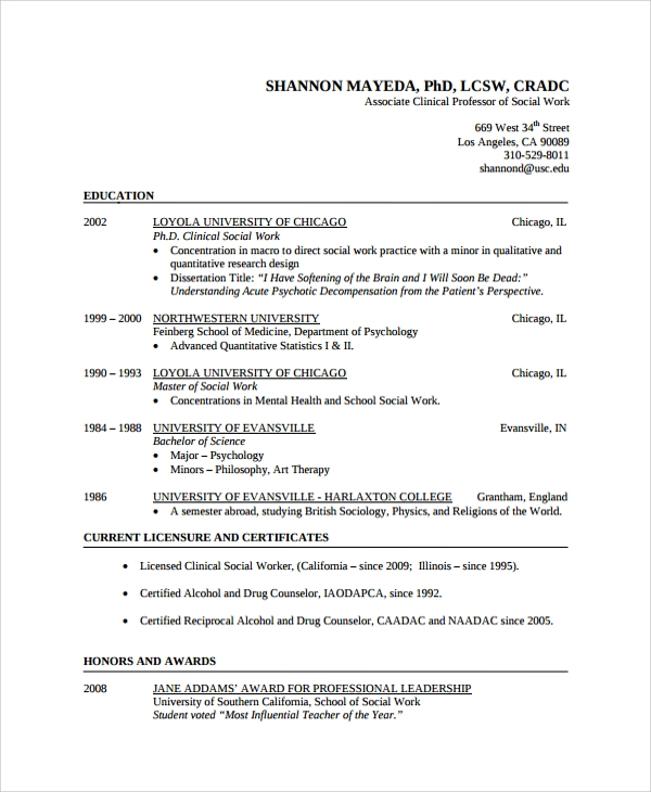 sample social worker resume template