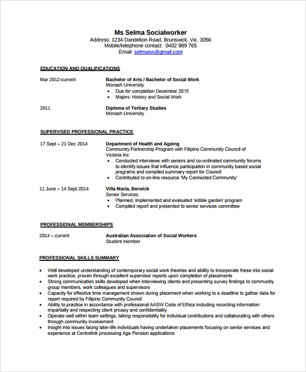 Sample Social Worker Resume Template   Free Documents Download In