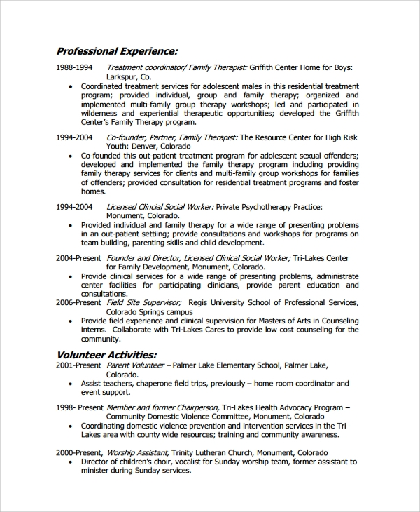 licensed social worker resume - Social Worker Resume Template