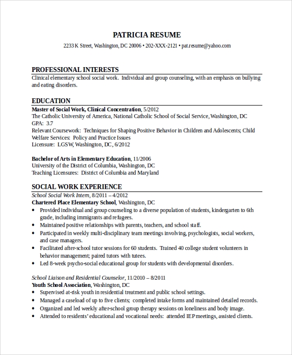 social work resume template 1148
