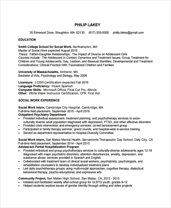 assistant social worker resume