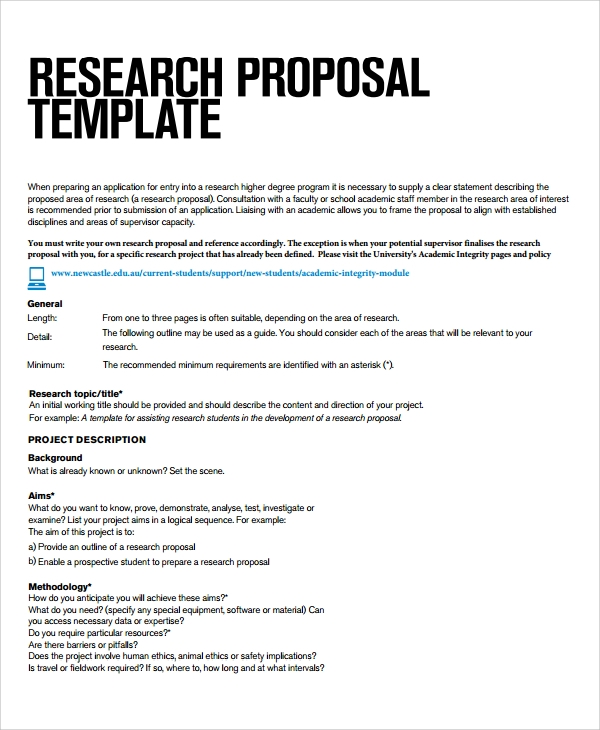 Research Project Template For Students  Example Of Project Proposal Used