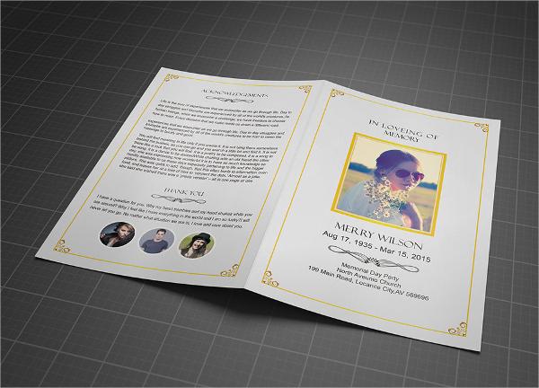 printable memorial brochures