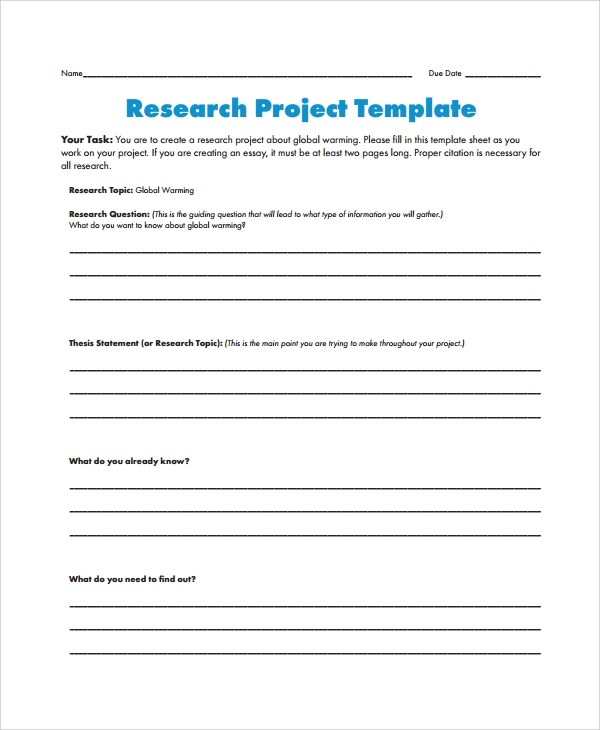 Sample Research Project Template 7 Free Documents Download in – Research Project Template