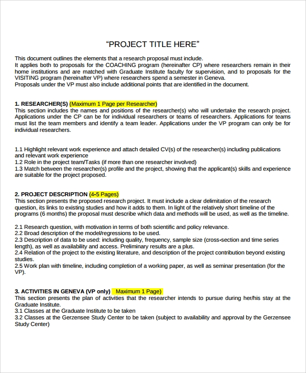 Sample Research Project Template -7+ Free Documents Download In