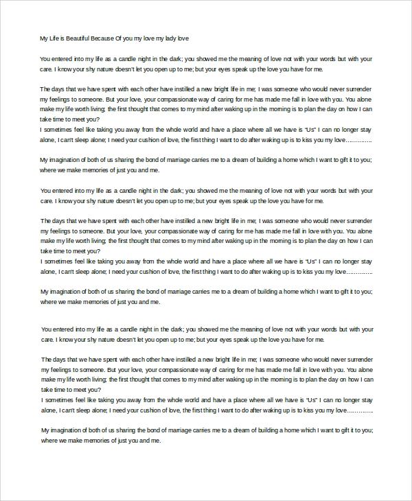 Sample Love Letter - 19+ Free Documents Download in Word, PDF