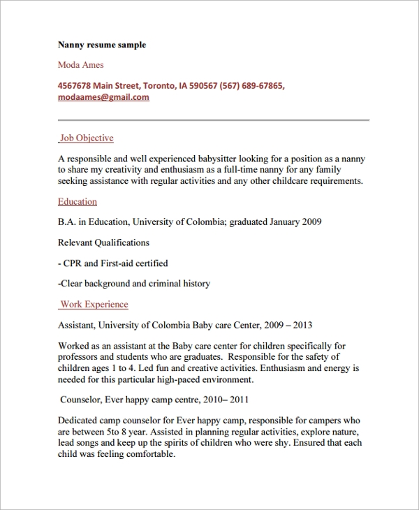 Free 6 Sample Nanny Resume Templates In Pdf Ms Word