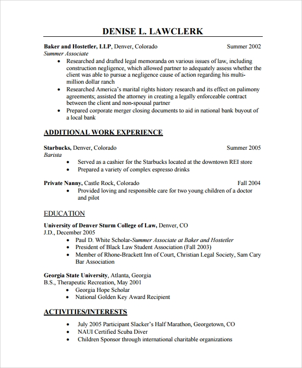 Nanny Resume Sample Experience