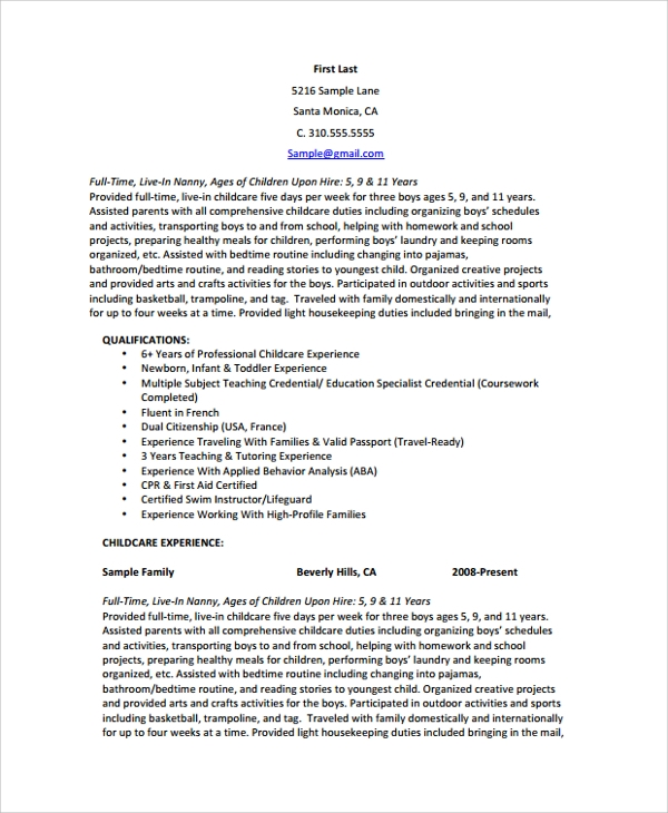 sample nanny resume template 6 free documents download