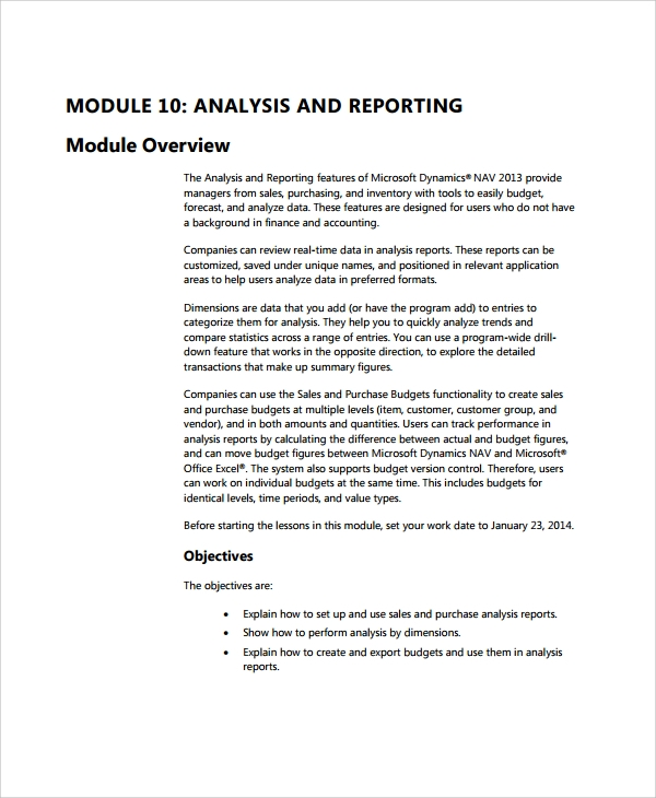 sales analysis reporting template