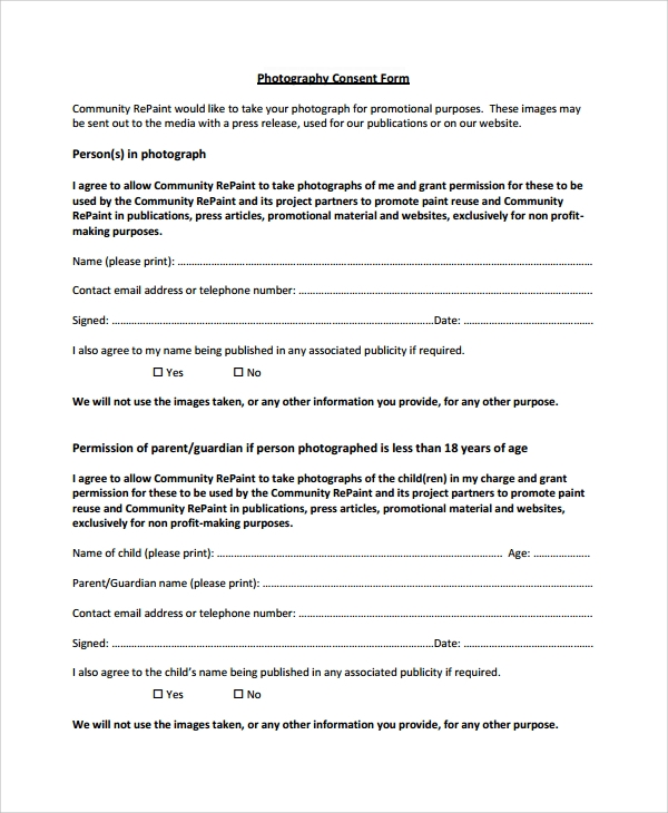 Sample Photography Consent Form   Free Documents Download In Word