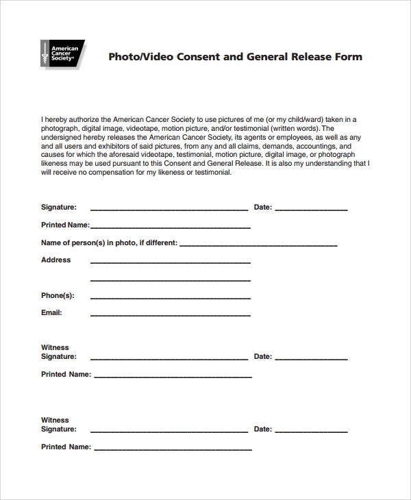 generic consent form template 10 photography consent forms sample templates