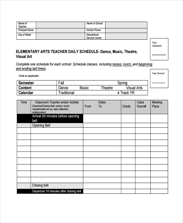 timetable templates for teachers - 10 daily timetable templates sample templates
