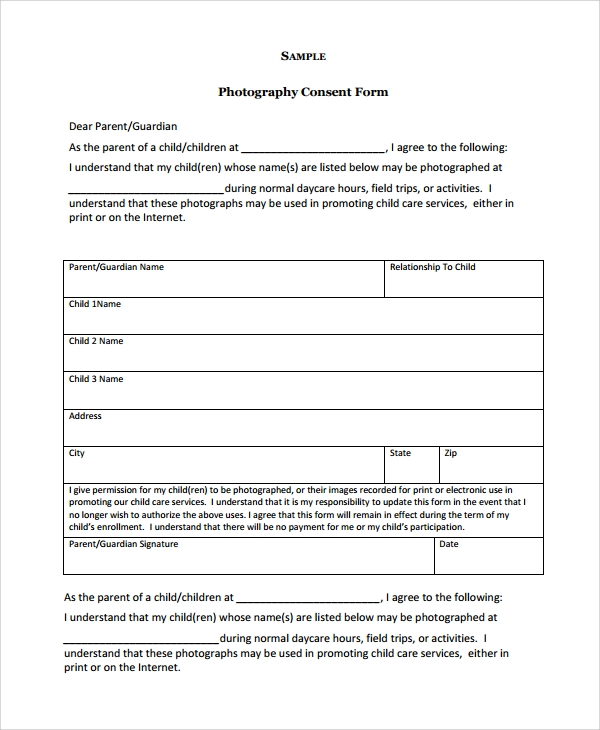 Sample Photography Consent Form - 9+ Free Documents Download In